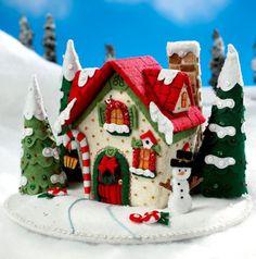 Bucilla Mary's Snow Cottage Felt Christmas Home Decor Kit 86162 House Felt Christmas Ornaments, Christmas Sewing, Christmas Makes, Christmas Gingerbread, Noel Christmas, All Things Christmas, Gingerbread Houses, Hanging Ornaments, Homemade Christmas