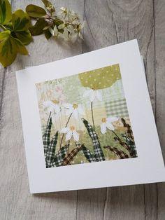 Daisies, daisies card, card, daisies art card, textile print card, blank card, botanical art, botanical card, contemporary card