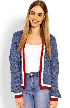 PeekaBoo 60004 sweter jeans Wygodny krótki sweter damski,  niezapinany, sweter wykończony ozdobną lamówką Jeans, Fashion, Moda, Fashion Styles, Fasion, Green Jeans, Denim Pants, Jeans Pants