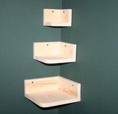 Nesting tiered corner wall shelves, Unifinished Pine Wood wall shelf, display rack, nursery decor, wall decor on Etsy, $25.00