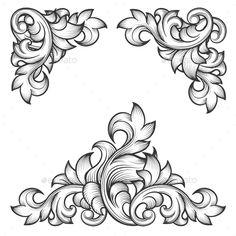 Illustration about Baroque leaf frame swirl decorative design element set. Illustration of design, leaf, floral - 58863724 Baroque Design, Baroque Pattern, Filigree Design, Leather Tooling Patterns, Leather Pattern, Motif Vector, Vector Art, Motif Design, Design Elements