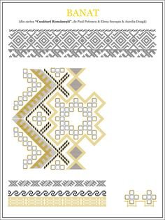 paulpetrescu&elenasecosan&aureliadoaga - ie BANAT. Embroidery Sampler, Folk Embroidery, Embroidery Stitches, Embroidery Patterns, Cross Stitch Patterns, Cross Stitching, Beading Patterns, Pixel Art, Folk Art