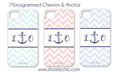 Monogrammed Anchor & Chevron iPhone Cover by ShorelyChic on Etsy, $44.00