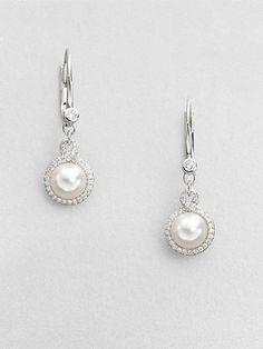 Mikimoto - 7MM Round White Akoya Pearl & Diamond Drop Earrings