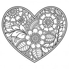 Mehndi flower pattern in form of heart for Henna drawing and tattoo. Mehndi flower pattern in form of heart for Henna drawing and tattoo. Decoration in ethnic oriental, Coloring Pages For Grown Ups, Heart Coloring Pages, Free Adult Coloring Pages, Cute Coloring Pages, Mandala Coloring Pages, Coloring Pages To Print, Free Printable Coloring Pages, Coloring Books, Tattoo Coloring Book