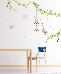 Stickers muraux Animaux - Stcikers maisons d'oiseaux dans la forêt | Ambiance-sticker.com