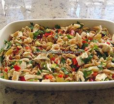 tavuklu arpa şehriye salatası Chicken Caesar Pasta Salad, Healthy Chicken Pasta, Pasta Salad Italian, Chicken Salad Recipes, Appetizer Salads, Appetizer Recipes, Turkish Salad, Ma Baker, Comfort Food