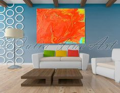orange abstract painting, abstract print, modern canvas wall decor, orange print art, large print, turquoise, yellow, surreal, contemporary by juliaapostolova. Explore more products on http://juliaapostolova.etsy.com