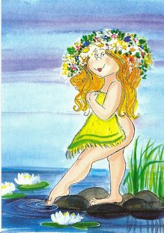 Neito suviyössä (Mermaid Suvi in the night) By Virpi Pekkala, Finland Illustration Girl, Character Illustration, Whimsical Art, Illustrations, Various Artists, Cute Drawings, Female Art, Decoupage, Glass Art
