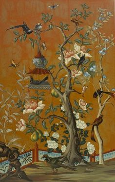 爱 Chinoiserie? 爱 home decor in chinoiserie style - panel by Bob Christian Et Wallpaper, Chinoiserie Wallpaper, Chinoiserie Chic, Decoration, Art Decor, Wall Murals, Wall Art, Asian Decor, Decorative Panels