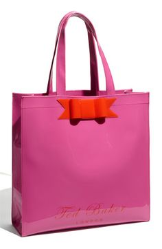 1afbd6acac Ted Baker  Plain Ikon Bow  Patent Tote  Go Pink