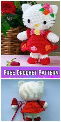 Crochet Amigurumi Patterns Crochet Hello Kitty In Dress Amigurumi Free Patterns - Toy Plush for Kids - Crochet Hello Kitty Amigurumi Free Patterns - Toy Plush for Kids Crochet Beanie Pattern, Crochet Amigurumi Free Patterns, Crochet Dolls, Cute Crochet, Crochet For Kids, Crochet Hello Kitty, Crochet Shell Stitch, Crochet Handbags, Stuffed Animal Patterns