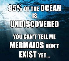 95% of the ocean is undiscovered. You can't tell me mermaids don't exist, yet...