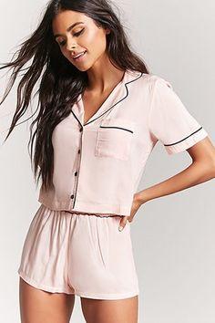 e5c85eec806a Button-Front Pajama Top   Shorts Set Pijamas Women