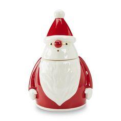 "Essential Home Ceramic Santa Cookie Jar  Caniter 12½"" X 6"""