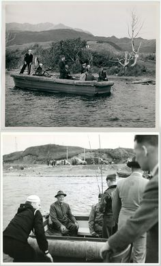 President Franklin D. Roosevelt (second from right) fishing for trout on Buskin Lake, Kodiak Island, Alaska, August 7, 1944.