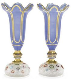Baccarat Glass; Vases (2), Opaline Blue, Millefiori, Paperweight Bases, 7 inch.