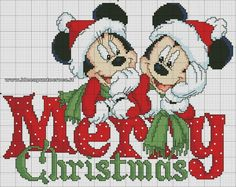 Mickey and Minnie Merry Christmas Cross Stitch Disney Cross Stitch Patterns, Counted Cross Stitch Patterns, Cross Stitch Charts, Cross Stitch Designs, Cross Stitch Embroidery, Embroidery Patterns, Hand Embroidery, Disney Stitch, Xmas Cross Stitch