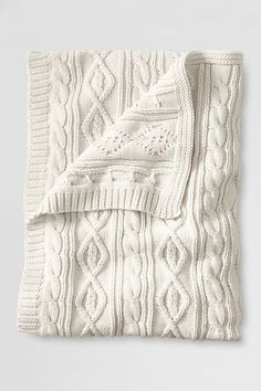 lakeland cotton cable throw / lands' end