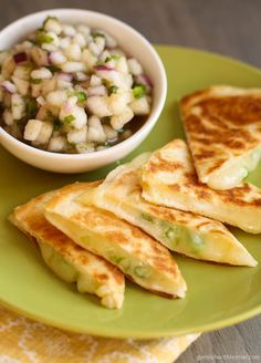 Monterey Jack Quesadillas with Pear Salsa - Vegan w/ Daiya (mostly wanted this for the pear salsa!)