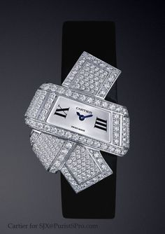 The Cartier Libre collection: the Nceud watch, inspired by the knot of the Japanese obi. 3.4 carats of diamonds.