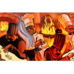 Dimensions 13″ x 19″ Image Dimensions: 8.4″ x 18.2″ Edition: 1000 Signed by artist Cooking is an art. In this case, a performance art. The chefs are enjoying cooking gourmet meals as the spicy aromas fill the air. This is the perfect print for the kitchen.