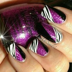 Zebra Fushia Nail Art ❤