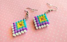 Colorful Pixel Earrings Multi-Colored Diamond by 8BitEarrings