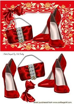 RED SHOES WITH DIAMANTE BAG IN FLORAL FRAME on Craftsuprint designed by Nick Bowley - RED SHOES WITH DIAMANTE BAG IN FLORAL FRAME, With red bow, makes a lovely card - Now available for download!