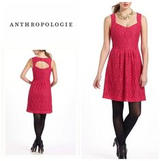 Anthropologie Silverfield Sweetheart dress By Deletta . Size s and will fit a size 4-6 best . Raspberry color . In excellent condition.  Will bundle for 10% off Anthropologie Dresses