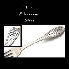 Stamped Fork Garden Marker Silverware We're by TheSilverwearShop