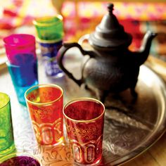We traveled to North Africa to find our Paisley Moroccan Tea Glasses, authentic Moroccan serving glasses featuring an eye-catching design in six bright hues. Moroccan Design, Moroccan Style, Turkish Style, Tea Glasses, Tea Tray, World Market, Relax, Tea Cups, Deserts
