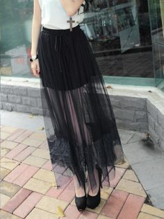 Long Sheer Chiffon Maxi Skirt with Eyelash Lace Near the Hem - Free Worldwide Shipping from Califorward $29.95 In ivory over tulle skirt