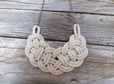 White Rope Nautical knot necklace