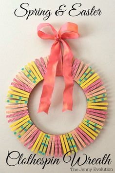 DIY Spring Easter Clothespin Wreath Tutorial   The Jenny Evolution Spring Activities, Easter Activities, Easter Wreaths, Holiday Wreaths, Summer Wreath, Spring Wreaths, Diy Wreath, Door Wreaths, Wreath Ideas