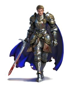 Male Human Fighter Knight Paladin Cavalier in Plate Armor with bloody sword - Pathfinder PFRPG DND D&D 3.5 5th ed d20 fantasy