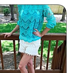 Stunning jade lace overlay blouse! Stunning color can be with on or off shoulder sheer lace sleeves! Tops Blouses