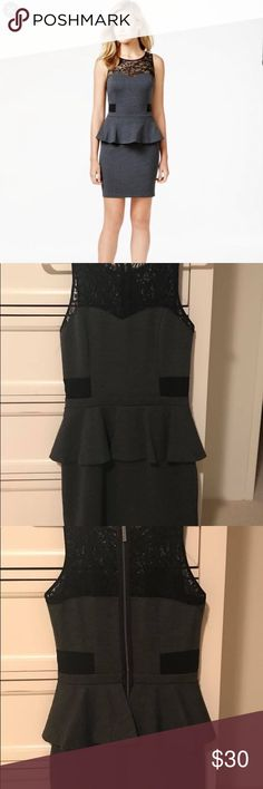 Kensie Lace Inset Peplum Dress Worn 1 time! Perfect Condition! Kensie Dresses