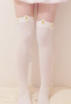 Daisy Thigh High Socks from Sweet Horror ♡ on Storenvy Thigh High Socks, Thigh Highs, Knee Highs, Melanie Martinez Style, Girly, Stocking Tights, Cute Socks, Kawaii Clothes, Daddys Girl