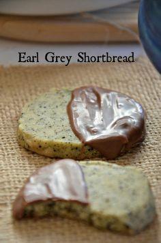 chocolate-dipped earl grey shortbread cookies
