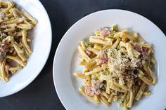 Bacon + Leek Alfredo with Barilla Collezione Pasta, recipe on [field notes]