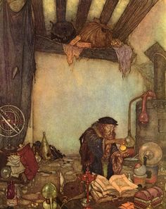 "Emund Dulac, The Alchemist from ""The Wind's Tale,"" Hans Christian Andersen's Fairy Tales, 1911."