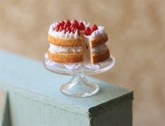 Miniature Food - Dollhouse Homemade Strawberry Short Cake