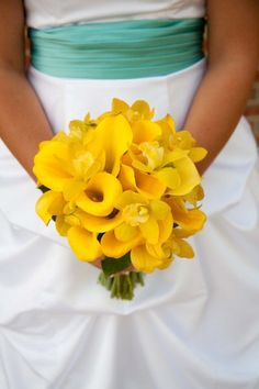 Yellow Bouquet Fall Spring Summer Wedding Flowers Photos & Pictures - WeddingWire.com