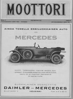 Paivan automainos Mercedes Moottori-lehti 1 1923 Kuva Kansalliskirjasto Maserati, Lamborghini, Daihatsu, Koenigsegg, Rolls Royce, Buick, Subaru, Mazda, Cadillac
