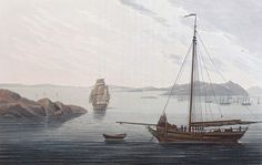 "Heliesund Harbour (JW Edy, plate 02). English: ""Heliesund Harbour"" Norsk bokmål: «Heliesund Havn» Drawing by John William Edy (1760-1820) from his journey along the coast of Norway during the summer of 1800. Published in Boydell's picturesque scenery of Norway in 1820."