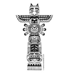 Pacific Northwest totem pole pen and ink line drawing | illustration | by…