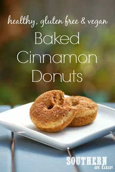 """""""Healthy Vegan Baked Cinnamon Donuts Recipe - Gluten free, low fat, low sugar, egg free, dairy free"""" This recipe gives a lot of options depending on what your food lifestyle is. Vegan Sweets, Healthy Sweets, Healthy Baking, Vegan Desserts, Vegan Recipes, Cooking Recipes, Plated Desserts, Eating Healthy, Clean Eating"""