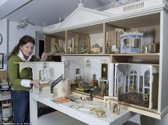 Miniature palace: Kevin Mulvany and Susie Rogers spent six months crafting the five-room house which is a homage to the Palace of Versailles Miniature Rooms, Miniature Houses, Miniature Furniture, Dollhouse Furniture, Dollhouse Interiors, Dollhouse Dolls, Dollhouse Miniatures, Fairy Houses, Versailles