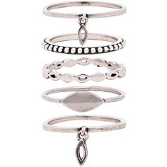 Luv AJ Marquise Ring Set ($115) ❤ liked on Polyvore featuring jewelry, rings, accessories, silver plated rings, cut out jewelry, charm jewelry, silver plated charms and set rings
